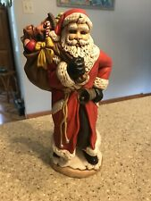 "Vintage Atlantic Mold Ceramic Christmas Santa Claus 11"" Hand Painted Figurine"