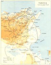 Tunisia. operazione Torch. Tunisia 1942 1966 Vecchio Vintage Mappa piano Grafico