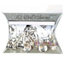 WEDDING AND BRIDAL MINI SILVER BELLS CHARMS (12)~ Birthday Party Supplies Favors