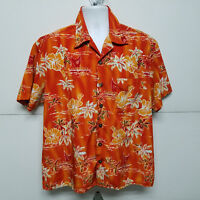 Kennington LTD 🌴 Orange Palm Trees Sail Boat Surfing Hawaiian Aloha Shirt L 🌴