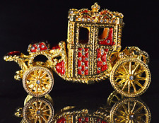 Red Faberge inspired royal carriage trinket box