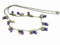 Dainty Vintage 1950s 60s blue glass drop & silver leaf dangle fringe necklace