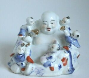 VINTAGE Rare Collectable Hand Painted Laughing Buddha with 5 Children 10cm Tall