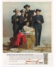 1960 SMIRNOFF Vodka Cowboy Dudes Cowgirl Horse Vtg Print Ad