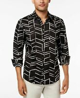 Alfani Men's Black Button Down Chevron Printed Shirt Size Large MSRP $65 A5811