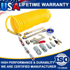 "New 20pcs Air Compressor Accessory Kit 25Ft Recoil Hose Gun Nozzles Set 1/4"" NPT"