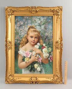 Antique ABRAHAM A ANDERSON American Portrait Blonde Girl Roses O/C Oil Painting