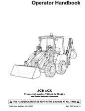 Jcb 1CX Manual del operador 9801/4230 Serial 751600 a 752999 y de 806000 reimpresión