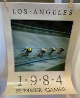 VTG 1984 Summer Games Olympics Poster Los Angeles Cycling 18x24 Laminated Rolled