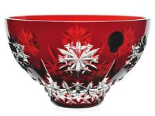 """Waterford Ruby Red Snow Crystals Cased Cut to Clear Bowl 6"""" New Signed No Box"""