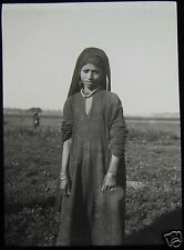 Glass Magic Lantern Slide AN EGYPTIAN GIRL C1900 EGYPT PHOTO
