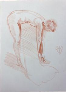 Original Female Sanguine Crayon on paper life Drawing nude Girl woman artwork