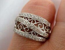 NEW Kay Jewelers 1/3ct Diamond Anniversary Cigar Band Ring 14K White Gold Sz 6.5