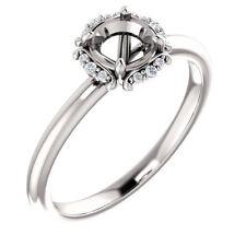 10k White Gold Semi Mount Engagement Bridal Ring Round Diamond Vintage Antique