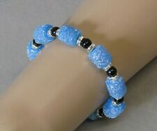 Black Agate, Crystals & Blister Moon Frosted Barrels Beaded Bracelet Stunning