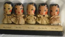 JG-027 Early Wood Doll Head Perfume Bottle Set Vintage Miss Gardenia Orchid 5pcs
