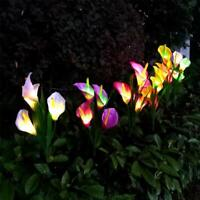 Outdoor Solar Calla Lily Flower LED Light Garden Landscape Decor Lamp Lawn J4U8