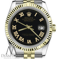18K & SS 2 Tone Men's Rolex 36mm Datejust Black Roman Numeral Dial Jubilee Watch