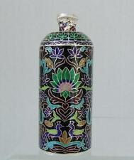 Antique 19 century Indian Enameled Solid Silver Perfume Bottle Scent Flask India