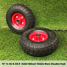"2pcs 10"" 4.10/3.50-4 Solid Tyre Jockey 16mm D Puncture Proof Trolley Cart Wheel"