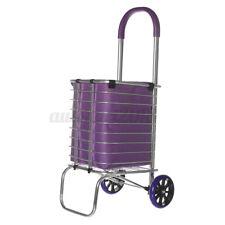 2 Wheels Folding Shopping Cart Basket W/ Wheels For Laundry Grocery    @ L