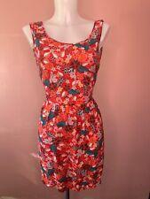 MANGO • Red Floral Tie Back Sun Dress • Size Medium