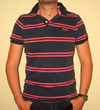 New With Tags Superdry Men Novelty Stripe Polo Short Sleeve Shirt Size Large