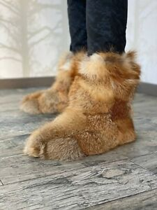 Fox Fur Boots Women Men Real Fur Indoor Shoes Leather Sole Accessories (Natural)