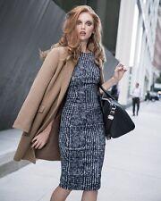 SPORTMAX Dress  MAX MARA 14 USA_48 I_44 D_46 F_16 GB Tweed print in Blue Satin