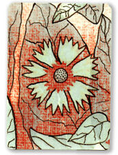 ACEO ORIGINAL mixed media ink paint Shubert corn flower leaf foliage collectible