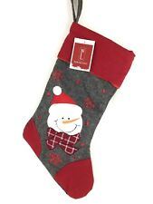 Northlight Snowman Christmas Stocking Gray Felt with Embroidery & Red Detail NWT
