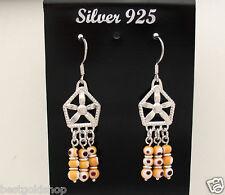 """2"""" Orange Murano Glass Evil Eye Dangle Earrings Real 925 Sterling Silver"""