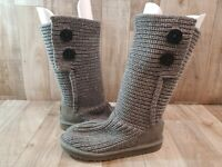 EUC UGG 5649 Classic Cardy Big Youth US 5 Eu 35 Gray Knit Mid-Calf Ankle Boot
