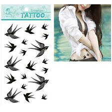 Autocollants amovibles tatouage temporaire Body Art Hirondelle motif oiseau  9hk