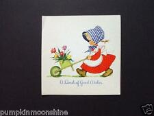 #H375- Unused Eva Harta 1944 Ars Sacra Greeting Card Girl Pushing Flower Cart