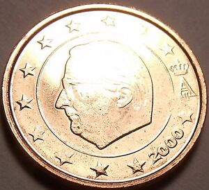 Gem Unc Belgium 2000 2 Euro Cents~Minted In Brussels~Albert II