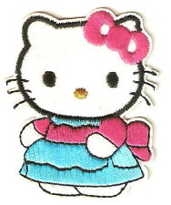 Hello Kitty with Blue Skirt Cartoon Emo Embroidery Iron on Patches