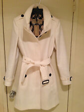 BURBERRY Womens GIBBSMOORE WOOL Blend Belted Coat - WHITE, IVORY - SIZE 8 - NWT!