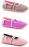 Quality Girls Slippers Ballerina Style Slip On Pink Grey Purple Spotty Sizes NEW