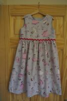 Handmade girls vintage retro romany pinafore dress age 7 grey with ballerinas