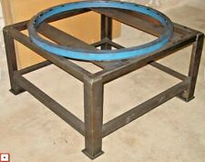Heavy Steel Shop Table With Carousel Turntable Rotating Ring Cnc Tumbstone Setup
