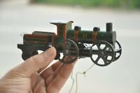Vintage Wind Up Unique Fine Black & Green Litho Train Engine Tin Toy,Germany