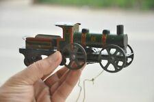 Vintage Wind Up Unique Fine Black & Green Litho Train Engine Tin Toy,Germany