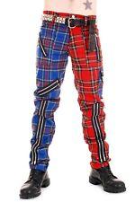 Red and Blue Zip Bondage Split Leg Pants