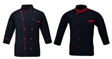 Leorenzo Designed Men's Black Chef Jacket in Several Color Piping (Pack of 2)