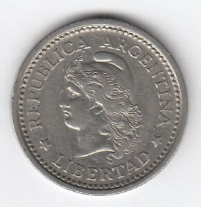 ARGENTINA 1957 1 peso Lady Liberty  KM57  R317