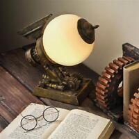 Fantasy Steampunk Futuristic Sculpted Airship Glass Orb Table Lamp Light