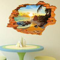 Beach Scenery 3D Wall Sticker Vinyl Art Mural Decal Home Room Decor Removable