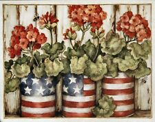 SUSAN WINGET AMERICANA GERANIUMS NOTE CARDS SET/5  FAST SHIPPING!