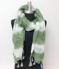 Women Long Printed tie-dye with marled tassels Chiffon Scarf Wrap Shawl Green